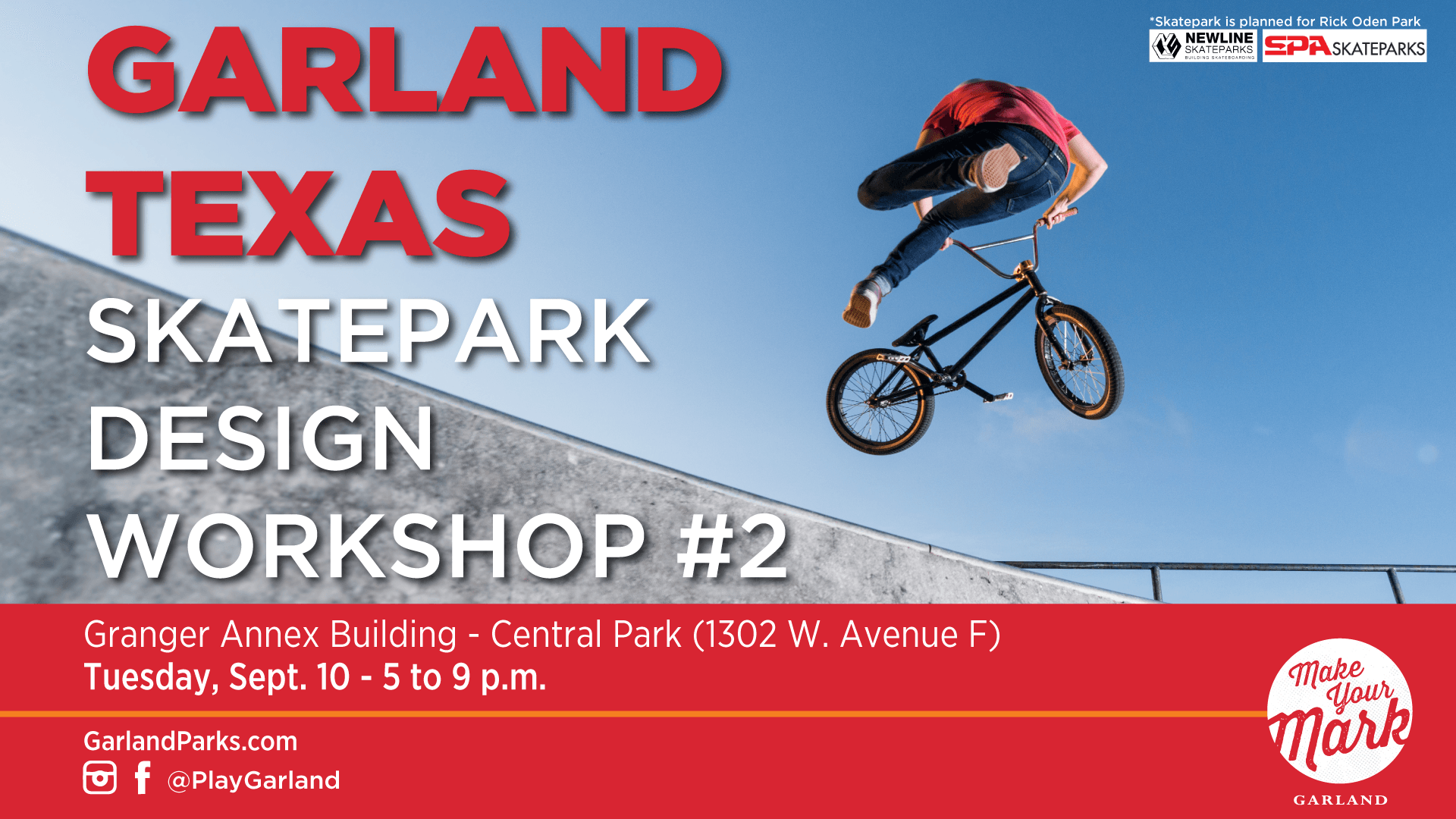 Garland Skatepark Design Workshop with guy on bike at skatepark