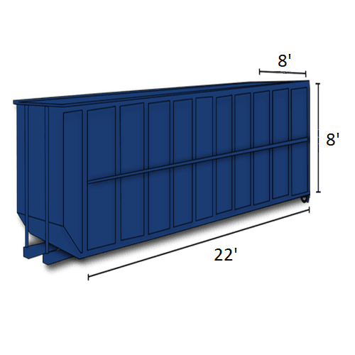 Picture of 40-cubic-yard open-top dumpster with dimensions
