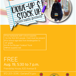 2020 Drive-Up Stock Up with guy holding backpack on Aug. 19, 2020 at Friendship House in Garland